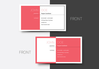 Business Card Layout with Pink Background 1