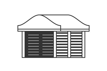 Carport for cars at home. Vector carport design in flat lines