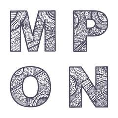 Vector letters set M-P