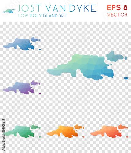 Jost Van Dyke geometric polygonal maps mosaic style island