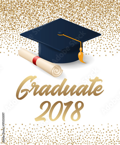 class of 2018 graduation poster with hat and diploma scroll can be