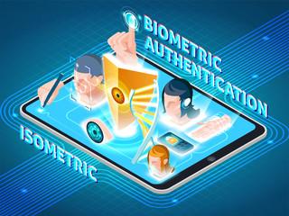 Biometric Authentication Smartphone Isometric Composition