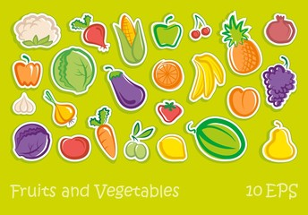 Sketches of fruit and vegetables stickers
