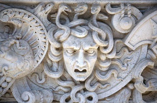 Stone Carved Panel of the Head of Medusa