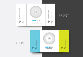 Blue and Yellow Business Card Layout 1