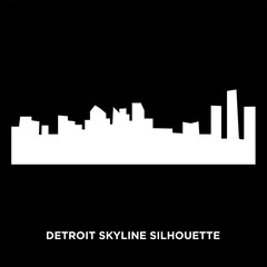white detroit skyline silhouette on black background