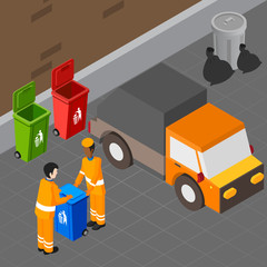 Trash Pickup Isometric Composition
