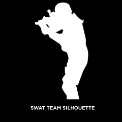 white swat team silhouette on black background
