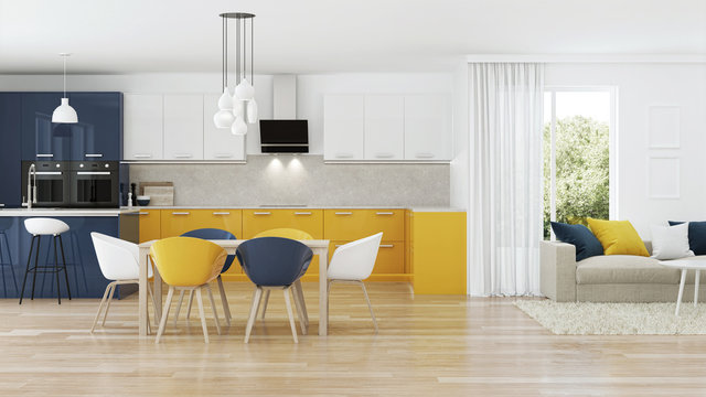 Modern house interior with yellow kitchen. 3D rendering.