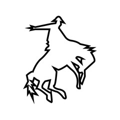 bucking bronco silhouette outline on white background
