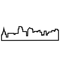 kansas city skyline silhouette outline on white background