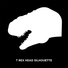 white t rex head silhouette on black background
