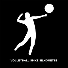 white volleyball spike silhouette on black background