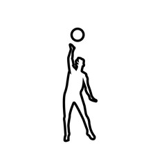 volleyball spike silhouette outline on white background