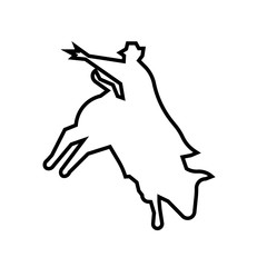 bull rider silhouette outline on white background