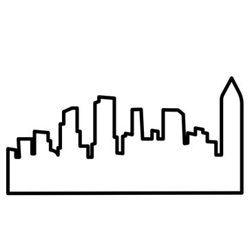 atlanta skyline silhouette outline on white background