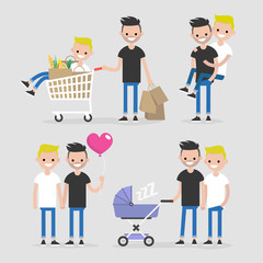 Gay couple, lifestyle set. Homosexual relationships. Dating and daily life. Flat editable vector illustration, clip art