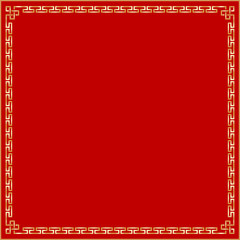 Illustration Art of Traditional Gold Chinese Frame or Border Pattern on Red Background.  This Can Be Used for Chinese New Year or Wishes Cards.