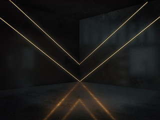 Empty room with light glow,abstract space.3D rendering