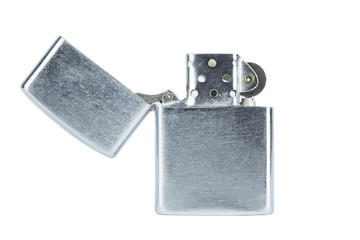 Steel silver lighter open cap isolated with clippingpath on white background concept idea copyspace.