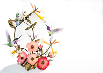 Three small humming birds and flowers on display