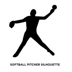 softball pitcher silhouette on white background