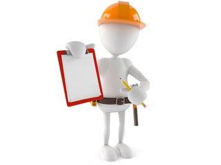 Manual worker with blank clipboard