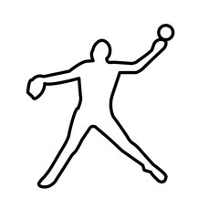 softball pitcher silhouette outline on white background
