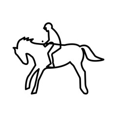 bucking horse silhouette outline on white background