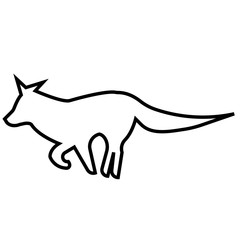 running fox silhouette outline on white background