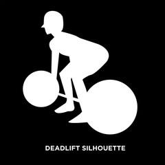 white deadlift silhouette on black background