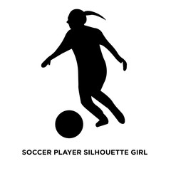 soccer player silhouette girl on white background