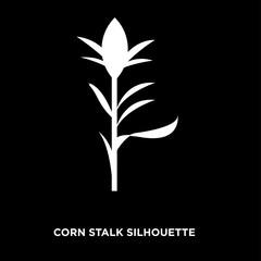 white corn stalk silhouette on black background