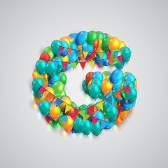 Colorful font made by ballons, vector.