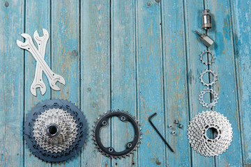Bicycle parts on the table, beautiful bicycle texture
