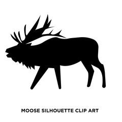 moose silhouette clip art on white background