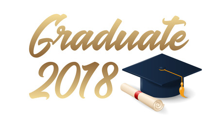 2018 graduation poster with cap and diploma scroll on white background