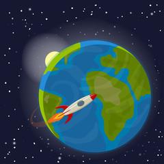Earth orbit and rocket.Vector Illustration.