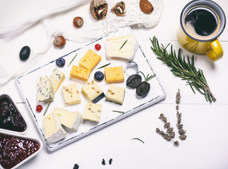 different pieces of cheese