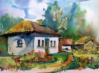 watercolor art landscape village hause architecture culture rural old hand  decoration