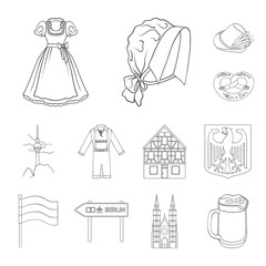 Country Germany outline icons in set collection for design. Germany and landmark vector symbol stock web illustration.
