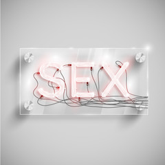 'Sex' behind a glass table, vector.