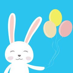 Cute cartoon bunny with balloons
