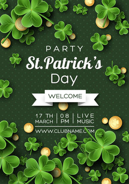 St. Patrick's Day party poster. Clover leaves with coins on green background for greeting holiday design, invitation template. Vector illustration.