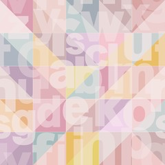 Geometric seamless pattern with transparent letters in fashion pastel colors