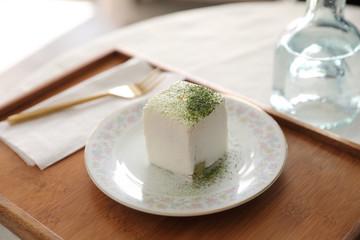 Green tea Macha cake japanese style dessert