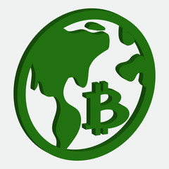 Bitcoin icon green and white vector illustration