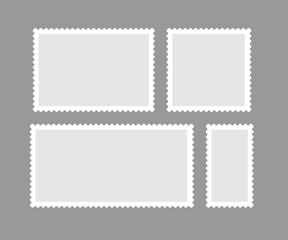 Blank different proportion postmark set. Vector illustration.