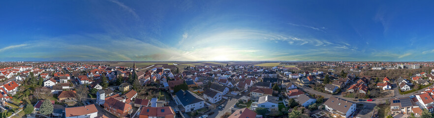 360° Luftbild Panorama Worms Weinsheim