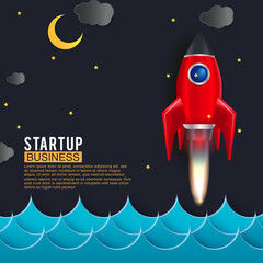 Startup space rocket launch art creative idea